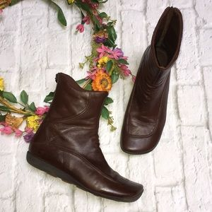 Diesel Alpha Brown Leather Back Zip Moro Boots